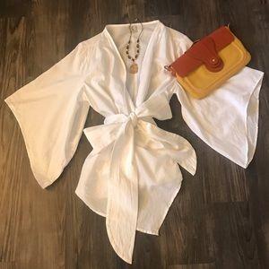 White Linen Wrap Top